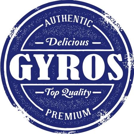 greece stamp: Vintage Style Greek Gyro Stamp