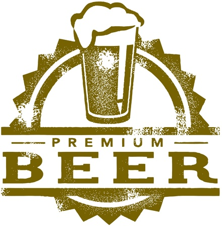 on tap: Vintage Premium Beer Stamp Illustration