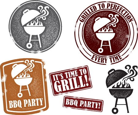 grill meat: Distressed barbecue Graphics