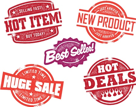 Grunge Retail Sale Store Stamps Vector
