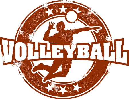 league: Vintage Volleyball Sport Stamp