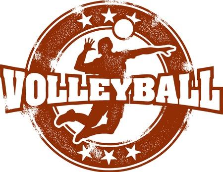 volleyball player: Vintage Volleyball Sport Stamp