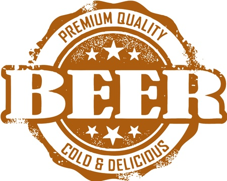 beer mugs: Vintage Premium Beer Stamp Illustration