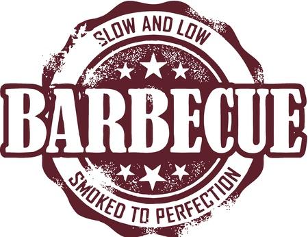 barbecue ribs: Barbacoa Vintage (barbacoa) Sello Vectores