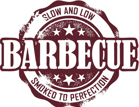 bbq: Vintage Barbecue (BBQ) Stamp Illustration