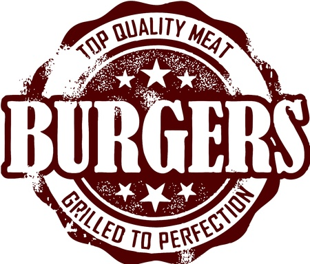 Vintage Burger Stamp Vector
