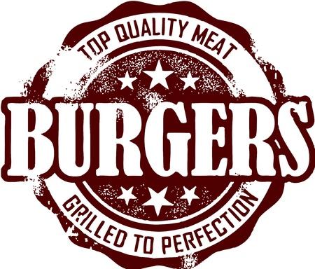 Vintage Burger Stamp Vector