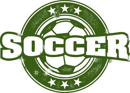 Vintage Soccer Sport Stamp Stock Vector - 14404794