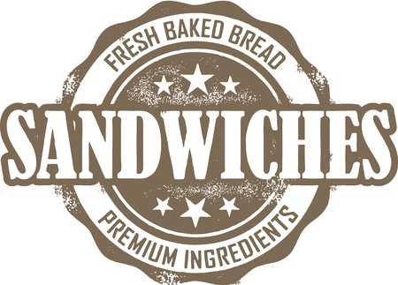 sandwiches: Vintage Sandwich Menu Stamp Illustration