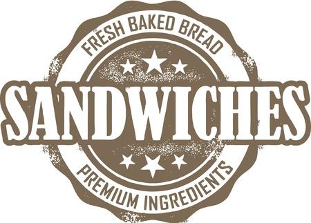 Weinlese-Sandwich Menü Stamp Standard-Bild - 14404791