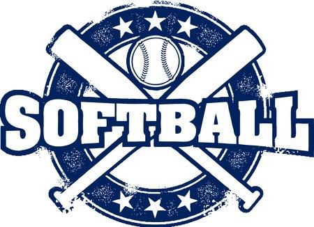 softbol: Softbol Vintage Sello Deporte Vectores