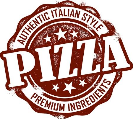 pizza: Sello pizza vintage Vectores