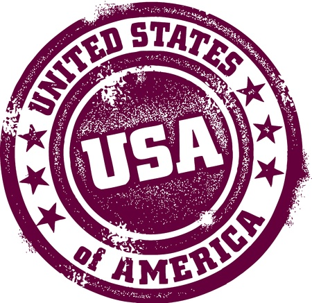 passport stamp: Vintage United States of America (USA) Stamp Illustration
