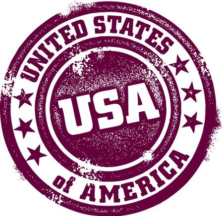 stempel reisepass: Weinlese Vereinigte Staaten von Amerika (USA) Stamp Illustration