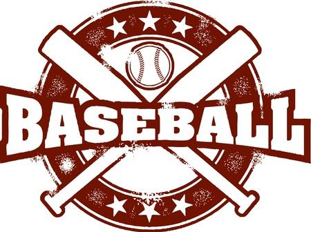 Vintage Baseball Sport Stamp Illustration