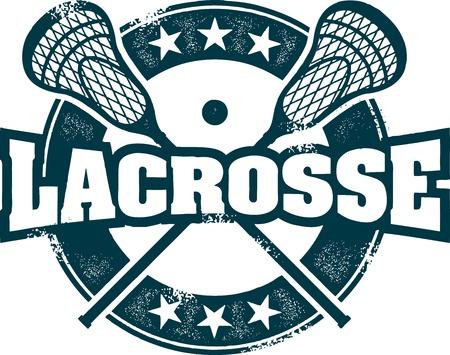 Vintage Lacrosse Sport Stamp Illustration