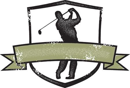 Vintage Golf Player Crest Vector