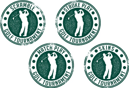 Vintage Golf Tournament Stamps