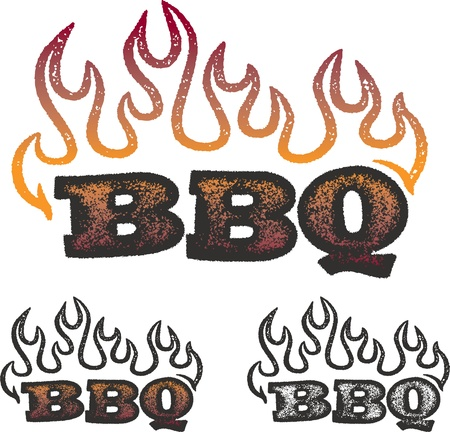 bbq: Distressed BBQ Graphic with Flames Illustration
