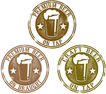 beer glass: Vintage Premium Beer Stamps