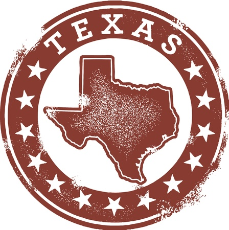Distressed Vintage Texas State Stamp Çizim