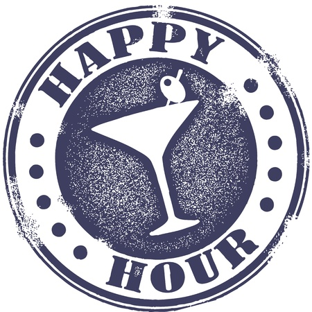 Grunge Happy Hour Cocktail Stamp Vector