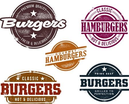 HAMBURGESA: Vintage Sellos estilo de hamburguesas Vectores