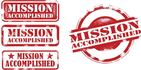 Mission Accomplished Achievement Stamps Vector