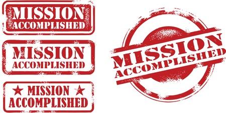 Sellos Misión Cumplida Achievement Foto de archivo - 14404815