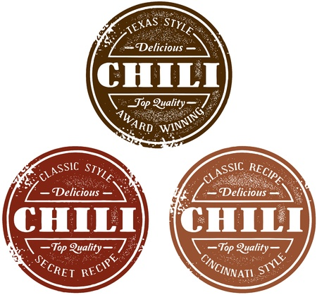 old fashioned menu: Vintage Homemade Chili Stamps Illustration