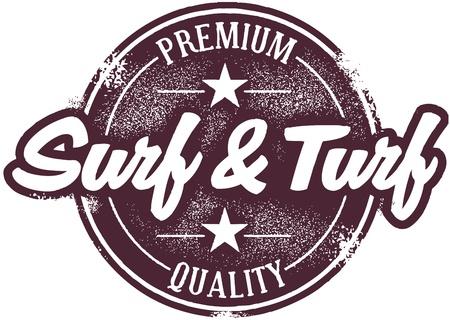Jahrgang Surf and Turf Menü Stamp Vektorgrafik