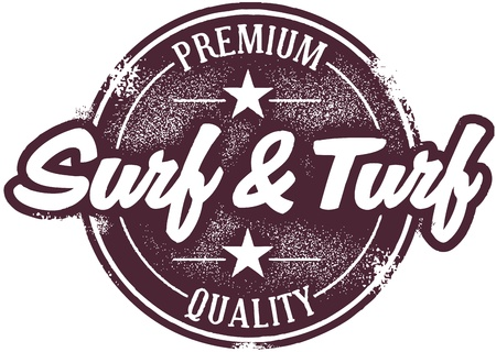 Vintage Surf and Turf Menu Stamp Vector