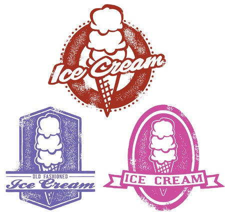 ice cream: Vintage Style Ice Cream Stamps