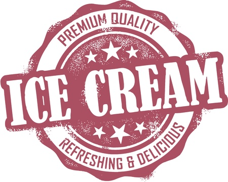 ice cream: Vintage Style Ice Cream Stamp
