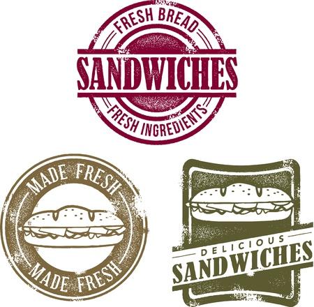 빈티지 델리 샌드위치 메뉴 우표 일러스트