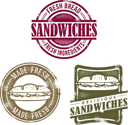 deli meat: Vintage Deli Sandwich Menu Stamps Illustration