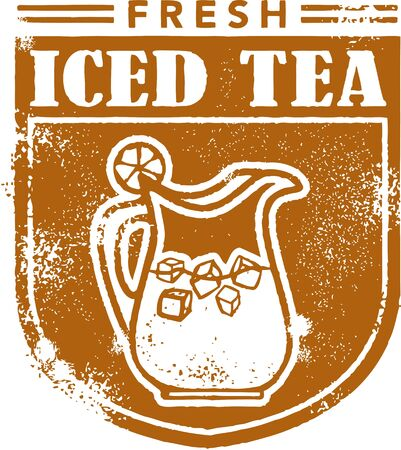 iced tea: Fresh Iced Tea Menu Stamp