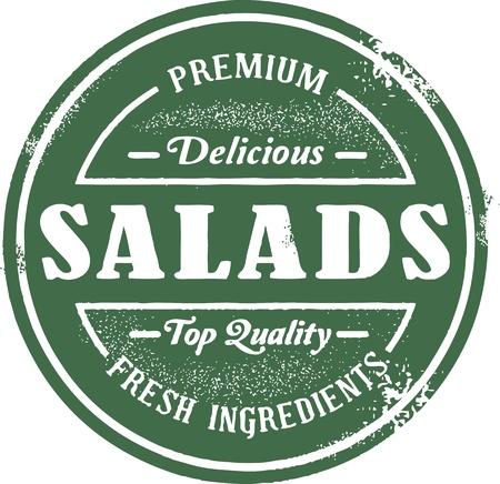 신선한 샐러드 메뉴 스탬프 스톡 콘텐츠 - 14651199