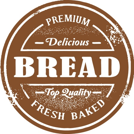 loaf of bread: Fresh Baked Bread Stamp Illustration