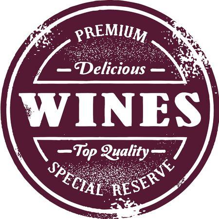 red wine bottle: Lista de vinos Premium Stamp Vectores
