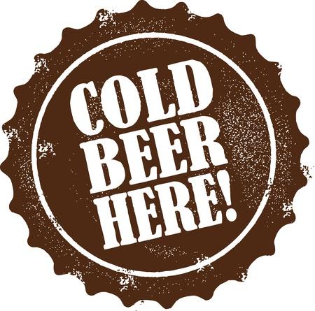 ここで冷たいビール  イラスト・ベクター素材