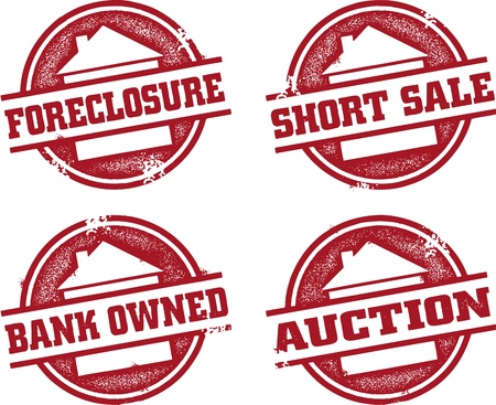 Short Sale and Forclosure Stamps Vector