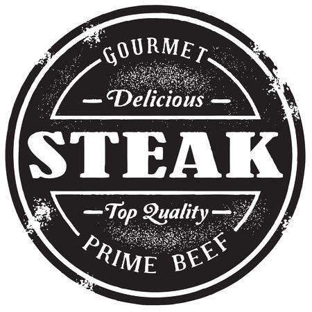 kasap: Vintage Stil Steak Damgası Çizim