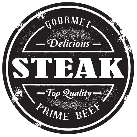 steak beef: Vintage Style Steak Stamp Illustration