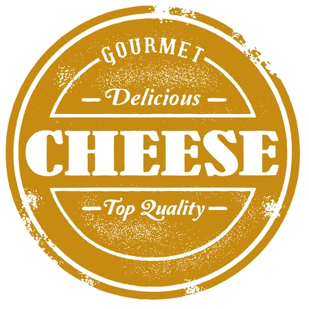 cheese: Vintage Style Cheese Stamp Illustration