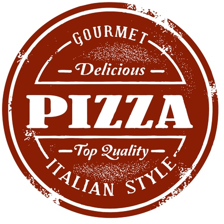 italian pizza: Vintage Style Pizza Stamp Illustration