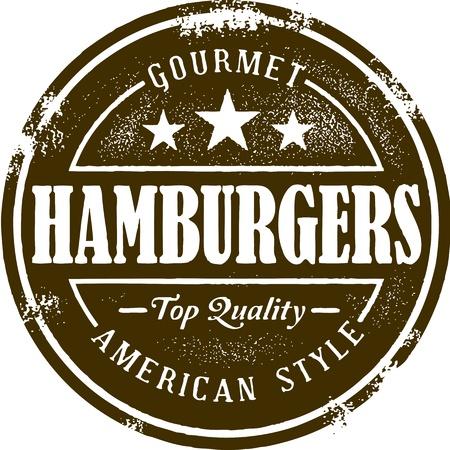 comida americana: Estilo Vintage Stamp Hamburguesa