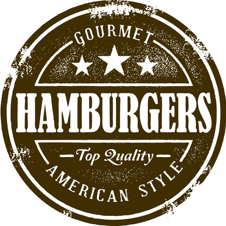 cheeseburgers: Vintage Style Hamburger Stamp