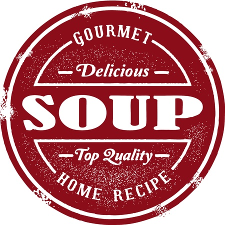 gourmet: Vintage Soup Menu Badge Illustration