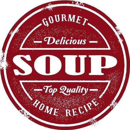 Vintage Soup Menu Badge Çizim